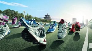 Running with a pair of comfortable running shoes