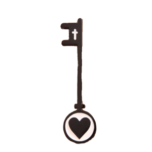 Heart-shaped musical instrument pin