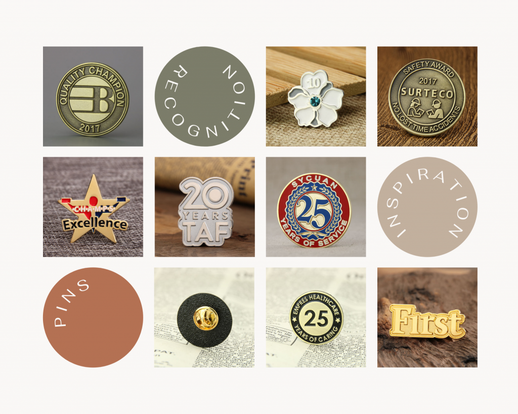 A variety of customized recognition pins